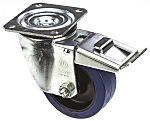 LAG 旋转脚轮, 车轮直径 100mm, 150kg负载制动,旋转129mm是40mm, 橡胶轮胎重型102 x 83mm8mm4, 聚酰胺轮毂80 x 60mm平孔
