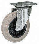 LAG 旋转脚轮, 车轮直径 125mm, 110kg负载旋转154mm是37.5mm, 橡胶轮胎重型102 x 83mm8mm4, 热塑性塑料轮毂80 x 60mm平孔