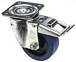LAG 旋转脚轮, 车轮直径 125mm, 180kg负载制动,旋转160mm是40mm, 橡胶轮胎重型102 x 83mm8mm4, 聚酰胺轮毂80 x 60mm平孔