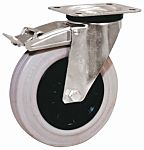 LAG 旋转脚轮, 车轮直径 125mm, 110kg负载制动,旋转154mm是37.5mm, 橡胶轮胎重型102 x 83mm8mm4, 热塑性塑料轮毂80 x 60mm平孔