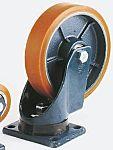 LAG 旋转脚轮, 车轮直径 150mm, 700kg负载旋转202mm是50mm, PUR轮胎重型135 x 110mm12mm4, 铸铁轮毂105 x 80mm球轴承