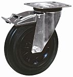 LAG 旋转脚轮, 车轮直径 125mm, 90kg负载制动,旋转154mm是37.5mm, 橡胶轮胎重型102 x 83mm8mm4, 热塑性塑料轮毂80 x 60mm平孔