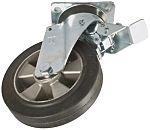LAG 旋转脚轮, 车轮直径 200mm, 450kg负载制动,旋转249mm是50mm, 橡胶轮胎重型135 x 110mm12mm4, 压铸铝轮毂105 x 80mm球轴承