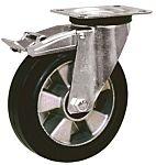 LAG 旋转脚轮, 车轮直径 160mm, 300kg负载制动,旋转196mm是50mm, 橡胶轮胎重型135 x 110mm10mm4, 压铸铝轮毂105 x 80mm滚动轴承
